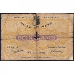 Metz - Pirot 131-6 - 2 francs - 27/12/1918 - Etat : AB