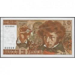 F 63-03 - 07/02/1974 - 10 francs - Berlioz - Série V.21 - Etat : SPL