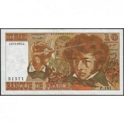 F 63-10 - 15/05/1975 - 10 francs - Berlioz - Série P.181 - Etat : TB+