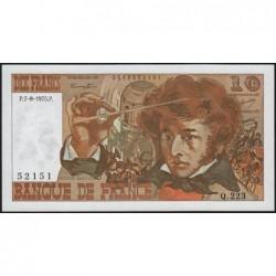 F 63-12 - 07/08/1975 - 10 francs - Berlioz - Série Q.223 - Etat : SPL+
