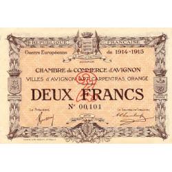 Avignon - Pirot 18-8 - 2 francs - 11/08/1915 - Petit numéro - Etat : SPL