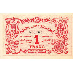Le Mans - Pirot 69-12 - 1 franc - 1917 - Etat : SUP+
