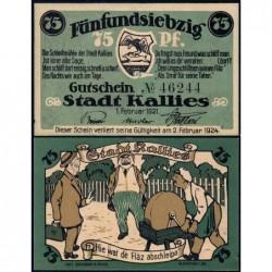 Pologne - Notgeld - Kallies (Kalisz Pomorski) - 75 pfennig - 01/02/1921 - Etat : NEUF