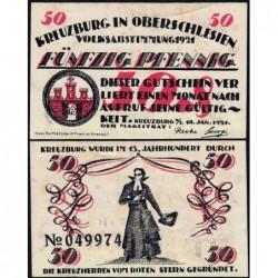 Pologne - Notgeld - Kreuzburg (Kluczbork) - 50 pfennig - 18/10/1921 - Etat : SUP