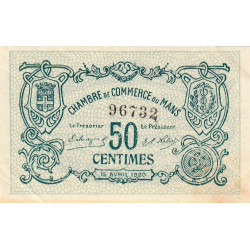 Le Mans - Pirot 69-16b - 50 centimes - 1920 - Etat : SUP
