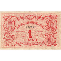 Le Mans - Pirot 69-18a - 1 franc - 15/04/1920 - Etat : TB
