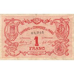 Le Mans - Pirot 69-18a - 1 franc - 1920 - Etat : TB