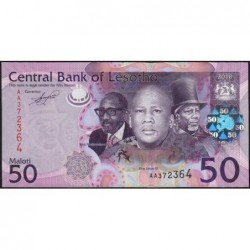Lesotho - Pick 23a - 50 maloti - Série AA - 2010 - Etat : NEUF