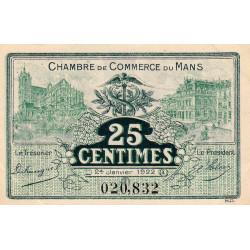 Le Mans - Pirot 69-20 - 25 centimes - 1922 - Etat : SUP+