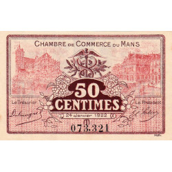 Le Mans - Pirot 69-23 - 50 centimes - 1922 - Etat : SUP+