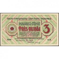 Lettonie - Pick R.2a - 3 rubli - Série AB - 1919 - Etat : pr.NEUF