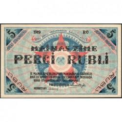 Lettonie - Pick R.3a - 5 rubli - Série RO - 1919 - Etat : pr.NEUF
