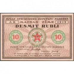 Lettonie - Pick R.4a - 10 rubli - Série AK - 1919 - Etat : NEUF
