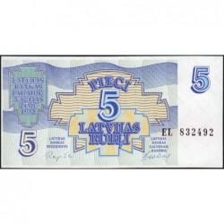 Lettonie - Pick 37 - 5 rubli - Série EL - 1992 - Etat : NEUF