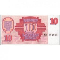 Lettonie - Pick 38 - 10 rubli - Série AB - 1992 - Etat : NEUF