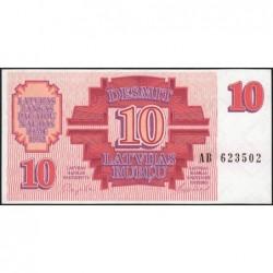 Lettonie - Pick 38 - 10 rubli - Série AB - 1992 - Etat : SPL+