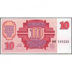 Lettonie - Pick 38 - 10 rubli - Série BM - 1992 - Etat : NEUF