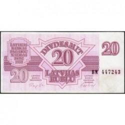 Lettonie - Pick 39 - 20 rubli - Série BM - 1992 - Etat : SPL