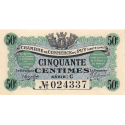 Le Puy (Haute-Loire) - Pirot 70-5 - 50 centimes - Série C - 10/10/1916 - Etat : NEUF