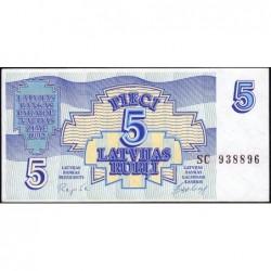 Lettonie - Pick 37 - 5 rubli - Série SC - 1992 - Etat : NEUF