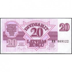 Lettonie - Pick 39 - 20 rubli - Série RA - 1992 - Etat : NEUF