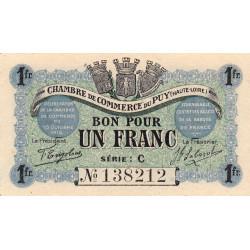 Le Puy (Haute-Loire) - Pirot 70-06-C - 1 franc - 1916 - Etat : SPL