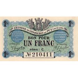Le Puy (Haute-Loire) - Pirot 70-6 - 1 franc - Série C - 10/10/1916 - Etat : NEUF