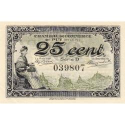 Le Puy (Haute-Loire) - Pirot 70-07-D - 25 centimes - 1916 - Etat : SPL