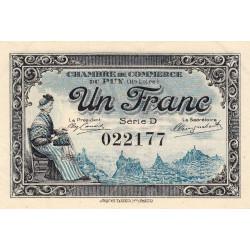 Le Puy (Haute-Loire) - Pirot 70-9 - 1 franc - Série D - 10/10/1916 - Etat : SUP+