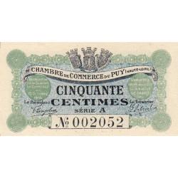 Le Puy (Haute-Loire) - Pirot 70-1 - 50 centimes - Série A - 10/10/1916 - Etat : SPL+