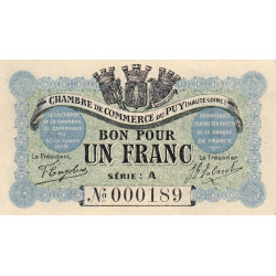 Le Puy (Haute-Loire) - Pirot 70-03 - Série A - 1 franc - Petit numéro - 1916 - Etat : SPL+