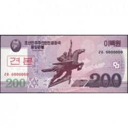 Corée du Nord - Pick 62s - 200 won - 2008 (2009) - Spécimen - Etat : NEUF