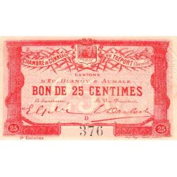 Le Tréport - Pirot 71-4 variété  - 25 centimes - Lettre D - Sans série - 2e émission - 1915 - Etat : SUP