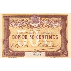 Le Tréport - Pirot 71-5 variété - 50 centimes - Lettre C - Sans série - 2e émission - 1915 - Petit numéro - Etat : SPL+