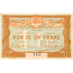 Le Tréport - Pirot 71-6 variété - 1 franc- Lettre A - Sans série - 2e émission - 1915 - Petit numéro - Etat : SUP+