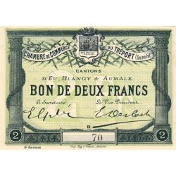 Le Tréport (Eu, Blangy, Aumale) - Pirot 71-07a - 2 francs - Petit numéro - 1915 - Etat : SUP+