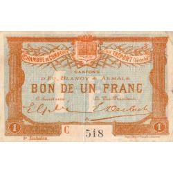 Le Tréport - Pirot 71-10 variété - 1 franc - Lettre A - Série C - 3e émission - 1915 - Etat : TB+