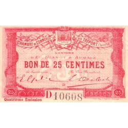 Le Tréport - Pirot 71-12 variété - 25 centimes - Lettre D - Série D - 4e émission - 1916 - Etat : TB-