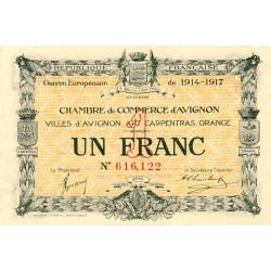 Avignon - Pirot 18-17b - 1 franc - 1915 - Etat : SUP