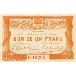 Le Tréport - Pirot 71-14 variété - 1 franc - Lettre A - Série D - 4e émission - 1916 - Etat : SUP+