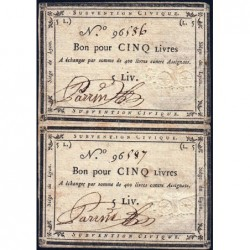 Siège de Lyon - Laf 253 - Paire de 5 livre - Série de miliers 96 - Août 1793 - Etat : TTB+