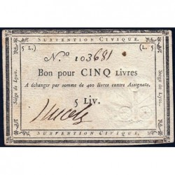Siège de Lyon - Laf 253 - 5 livres - Série de miliers 103 - Août 1793 - Etat : SUP+ à SPL