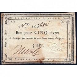 Siège de Lyon - Laf 253 - 5 livres - Série de miliers 103 - Août 1793 - Etat : TTB+