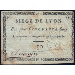 Siège de Lyon - Laf 254 - 50 sous - Septembre 1793 - Etat : TTB