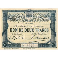 Le Tréport - Pirot 71-15 variété - 2 francs - Lettre B - Série D - 4e émission - 1916 - Etat : SUP+