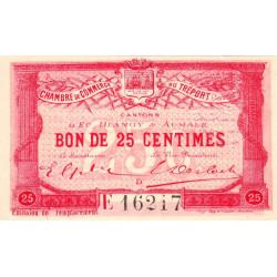 Le Tréport - Pirot 71-16 - 25 centimes - Lettre D - Série E - Émission de remplacement - 1916 - Etat : SPL