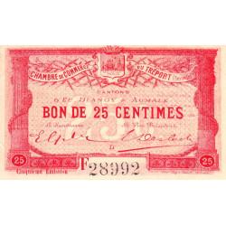 Le Tréport - Pirot 71-20 variété - 25 centimes - Lettre D - Série F - 5e émission - 1916 - Etat : SUP+
