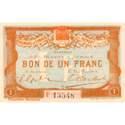 Le Tréport (Eu, Blangy, Aumale) - Pirot 71-22a-F - 1 franc - 1916 - Etat : SUP+