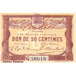 Le Tréport (Eu, Blangy, Aumale) - Pirot 71-24b-G - 50 centimes - 1916 - Etat : SUP+