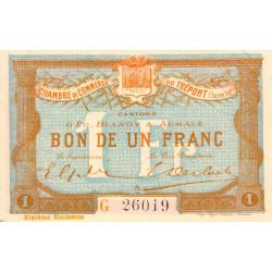 Le Tréport - Pirot 71-25 variété - 1 franc - Lettre A - Série G - 6e émission - 1916 - Etat : SUP+